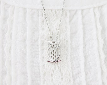 Gold and Silver Tiny Owl Necklace . Simple and Modern Necklace Birthday Gift Dainty Everyday Necklace