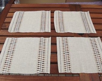 Hand woven linen placemats with beautiful hemstitch.  Swedish vintage 1960s.
