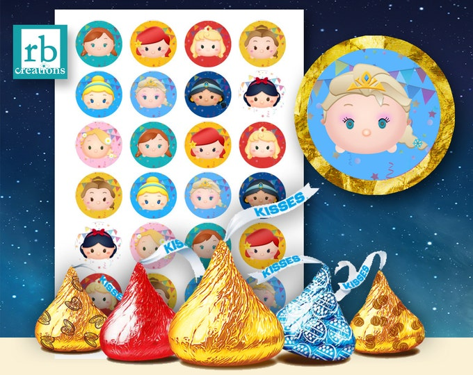 Princesses Hershey Kiss Sticker Files, Tsum Tsum Party, Tsum Tsum Stickers, Tsum Birthday, Tsum Tsum Party Supply - Avery label digital file