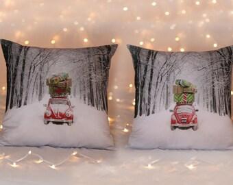 Throw pillow cover coastal Beach house Christmas decoration Volkswagen VW bug winter presents pillow gift