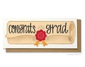 Graduation Card - Grad Card - Diploma Card - High School Grad - College Grad - Class of 2017 - Congrats Grad - Hennel Paper Co. - GR5