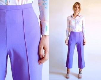 Vintage Pants Purple Cropped Flares High Waist Trousers Capris