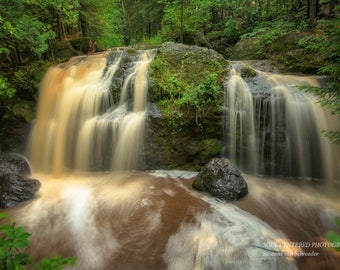 Waterfall Nature Photography, Amnicon Falls, State Park, Forest, Nature Spirits, Magic, Wisconsin, Summer Fog, Dreamy, Green Brown White