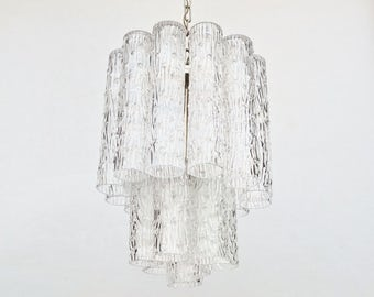 Mid Century Modern  Murano Glass Two Tier Tronchi Chandelier
