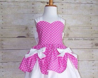 Pink princess dress , princess dress, party dress, Minnie Mouse dress
