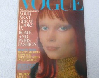 Vintage Vogue magazine September fashion and beauty 1970s history fashion gift for her coffee table memorabilia collectors Sept issue 1970.