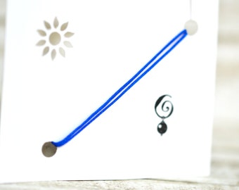 Blue String Bracelet  Simple Bracelet Blue Thread Bracelet Friendship Stackable Bracelet Adjustable Lucky Bracelet Dainty Bracelet
