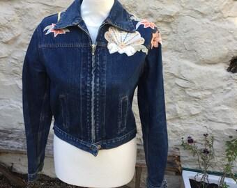 Kookai vintage denim jacket, customised applique size S