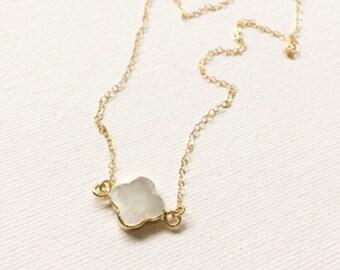 Mother of Pearl Quatrefoil Necklace