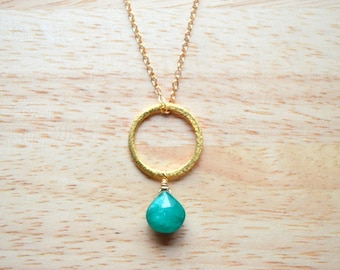 EMERALD Gemstone Necklace- Hand Wire Wrapped Necklace in 14k Gold Fill- May Birthstone