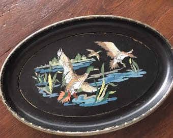 Vintage tray, ducks, duck tray, hand painted tray