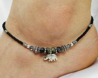 Anklet Ankle Bracelet Sterling Silver Anklet Elephant Anklet Black Anklet Gemstone Anklet Summer Anklet Beach Anklet Boho Anklet