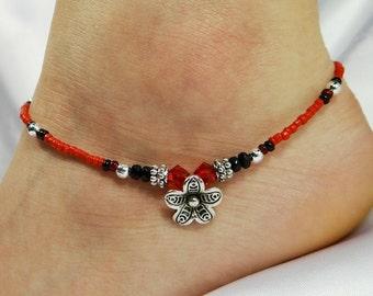 Anklet Ankle Bracelet Flower Anklet Tropical Anklet Beach Anklet Beach Jewelry Crystal Anklet Beaded Anklet Body Jewelry Red Anklet
