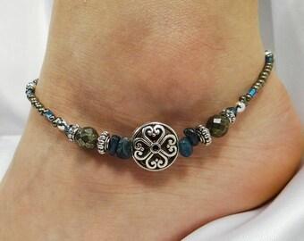 Anklet Ankle Bracelet Blue Anklet Kyanite Anklet Pyrite Anklet Beach Anklet Beach Jewelry Beaded Anklet Crystal Anklet Silver Anklet