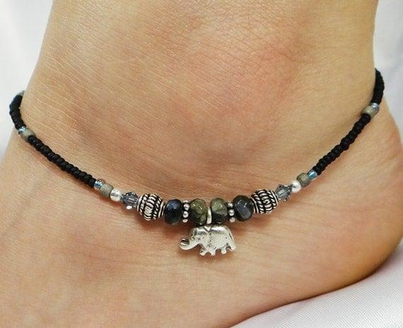 Anklet Ankle Bracelet Sterling Silver Anklet Elephant Anklet