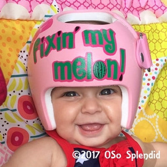Personalized Cranial Band Just Fixin My Melon Girl - Baby helmet decalspersonalized cranial band fairy decals just tinkering