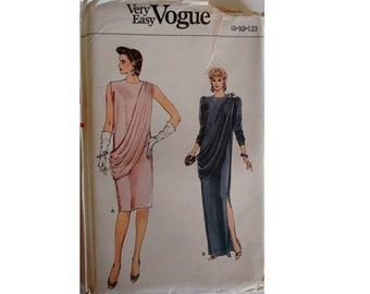UNCUT 80's Vogue #9047 Evening Cocktail Dress with Grecian Styling Knee and Full Maxi Length Sewing Pattern 3 Sizes UK 8 10 12