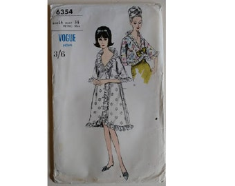 UNCUT Vogue #6354 Vintage 60's Ruffle Edge Dressing Gown Bath Robe and Bed or Evening Jacket Sewing Pattern Sizes UK 12 Bust 34""