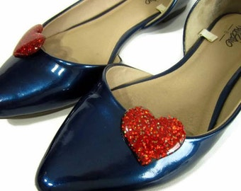 Red Heart Shoe Clips, Red Glitter Hearts, I Heart Shoes, Love Shoe Clips, Heart Shoe Buttons, Red Shoe Accessories