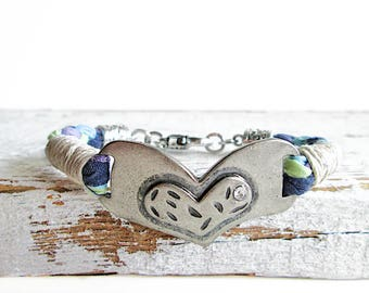 Bohemian Heart Bracelet Boho Love Bracelet Purple Heart Cuff Vegan Jewelry