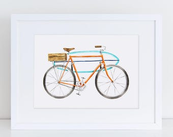Vintage Inspired Orange Surf Board Bicycle Fine Art Watercolor Print