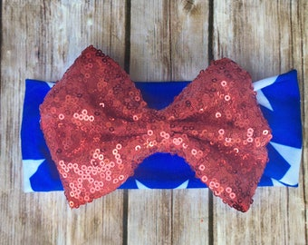 ON SALE 4th of July Headband, Stars and Stripes Headband, Girls Fourth of July Hair bow, Red Sequin Bow, 4th of July Bow
