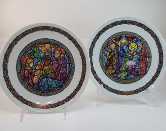 Vintage Henri Darceau & Fils Limoges Christmas Plate Noel Vitrail 1976 Dans La Creche And 1978 La Purification Limoges Haute Vienne France