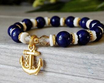 Beaded Nautical Bracelet, Anchor Bracelet, Nautical Bracelet, Anchor Charm Bracelet, Beaded Anchor Bracelet, Blue Bracelet, Beach Jewelry