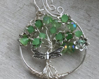 Swarovski Crystal and Dragonfly Tree of Life Pendant