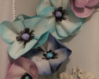 5 Paper Flower Baby Shower Nursery Poppies decoration - Free Shipping