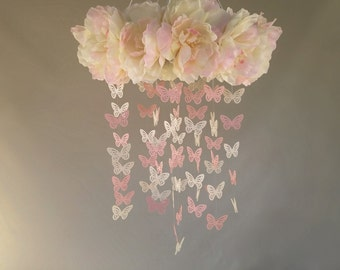 Flower Mobile, Butterfly Mobile, Pink Butterfly Mobile, Pink Flower Mobile, White Flower Mobile, Floral Mobile, Flowers and Butterflies