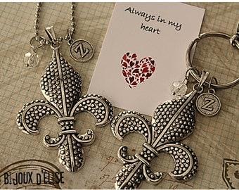 Personalized Fleur de Lis Necklace or Fleur de Lis Keychain Bag Purse NOLA Scout Keychain