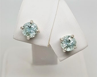 Aquamarine Round 1.45ctw Sterling Silver Stud Earrings