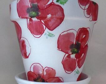 "Made To Order, Handmade Decoupage Terra Cotta Flower Pot, Red Poppies, 10"""