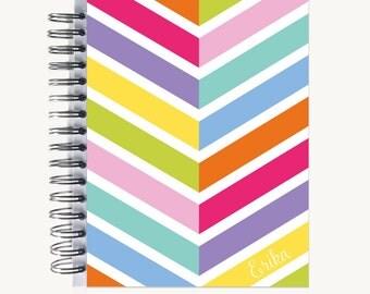 Personalized Notebook – Journal | Bound | Diary | Custom |  Diagonal Stripes