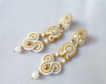 Bridal earrings, wedding jewelry, long earrings, white earrings, clip earrings, bride earrings, soutache earrings, flamenco earrings,