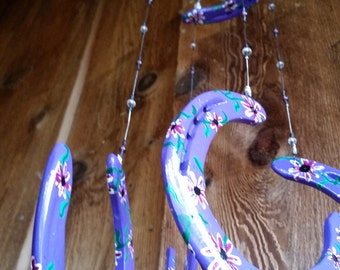 Wind Chime Purple with Hand Painted Purple and White Daisies on Recycled Horse Shoes