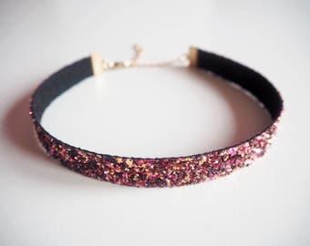 Maroon Glitter Choker, Sparkly Dark Pink Choker Necklace, Sparkly Chokers, Dark Pink Necklace, Party Jewellery, Glittered Choker,