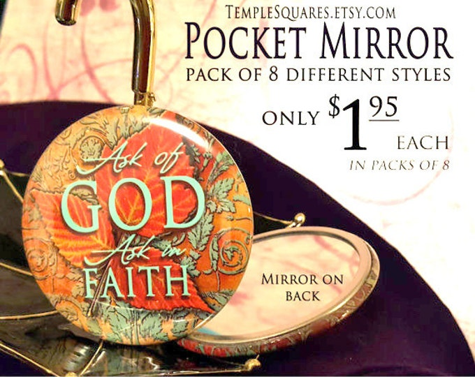 2017 YW gifts Ask of God Ask in Faith Pocket Mirrors Young Women Mutual Theme Birthdays Christmas New Beginnings Girls Camp Relief Society