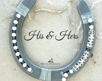 His & Hers Horseshoe | Anniversary Horseshoe | Wedding Horseshoe | Lucky Horseshoe | Pearl Horseshoe | Horseshoe Décor | Horse Décor