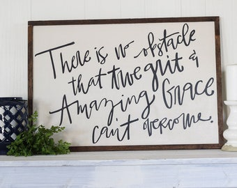 True Grit + Amazing Grace Calligraphy Wood Sign