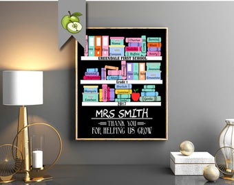 Teacher appreciation gift, library, reading, english, books, teacher Retirement, Thank You, custom DIY Printable, book shelf, literature