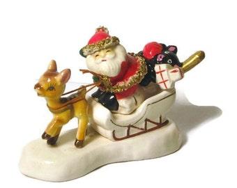 Vintage Christmas Santa Claus in Sleigh Reindeer Baseball Bat Glove Teddy Bear Figurine Spaghetti Trim Japan Porcelain Nippon Yoko Boeki
