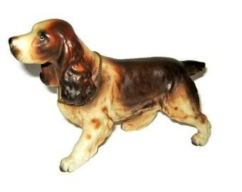 Vintage Porcelain Springer Spaniel Dog Figurine Figure Metal Collar name Tag Hunting Hunter Japan Lefton Napco Liver Color Bird Dog Game