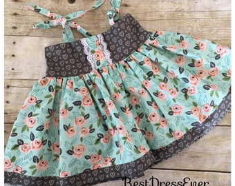 Toddler girls dress - summertime dress - mint Dresss -girls birthday outfit - special occasion - baby girls dress