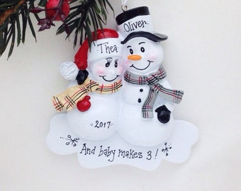 FREE SHIPPING Expecting Parents Personalized Christmas Ornament / New Parents Personalized Ornament / New Baby /  Pregnant / Baby Makes 3
