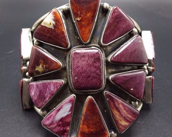 Spectacular Huge NAVAJO Sterling Silver PURPLE Spiny Oyster Shell Cuff BRACELET