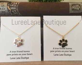 Paw print necklace/Paw print pendant/Dog necklace/Cat necklace/Paw print jewelry/Pet memorial necklace/Pet memorial jewelry/Cat & dog lover
