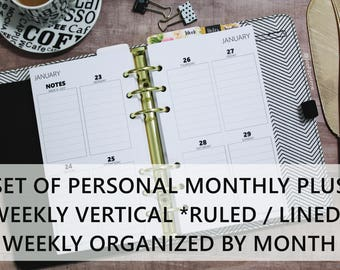 Printed PERSONAL-SIZE: SET of Monthly + Weekly Vertical Quad *Ruled* Boxes Planner Inserts - Personal 3.75x6.75 / Franklin Compact 4.25x6.75
