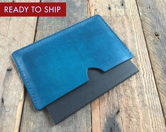Moleskine Cahier Cover - Evening Blue - Hand Dyed - Veg Tan Leather - Royal Blue Thread Colour - Hand Stitched